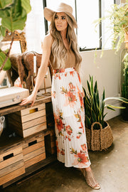 Up to It Floral Print Pleated Maxi Skirt (Light Beige) - NanaMacs