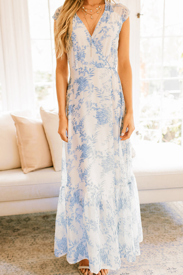 Visionary Floral Maxi Wrap Dress (Off White/Light Blue) - NanaMacs