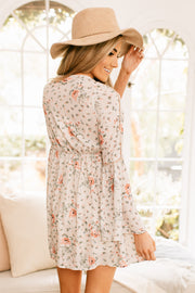 Travel Addict Floral Print Dress (Taupe) - NanaMacs