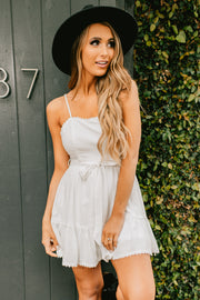 More Than Basic Tie Waist Dress (Off White) - NanaMacs