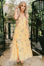 Day At The Beach Floral Maxi Dress (Mustard) - NanaMacs
