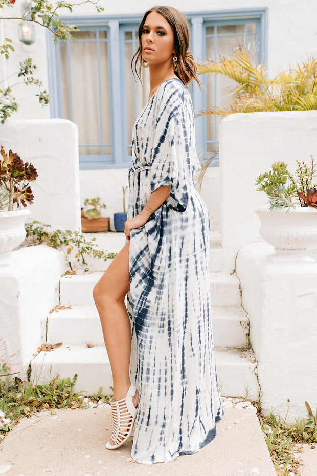 Odessa Tie Dye Maxi Dress (Blue/Off White) - NanaMacs