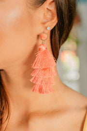 Feeling Bubbly Tassel Earrings (Coral) - NanaMacs