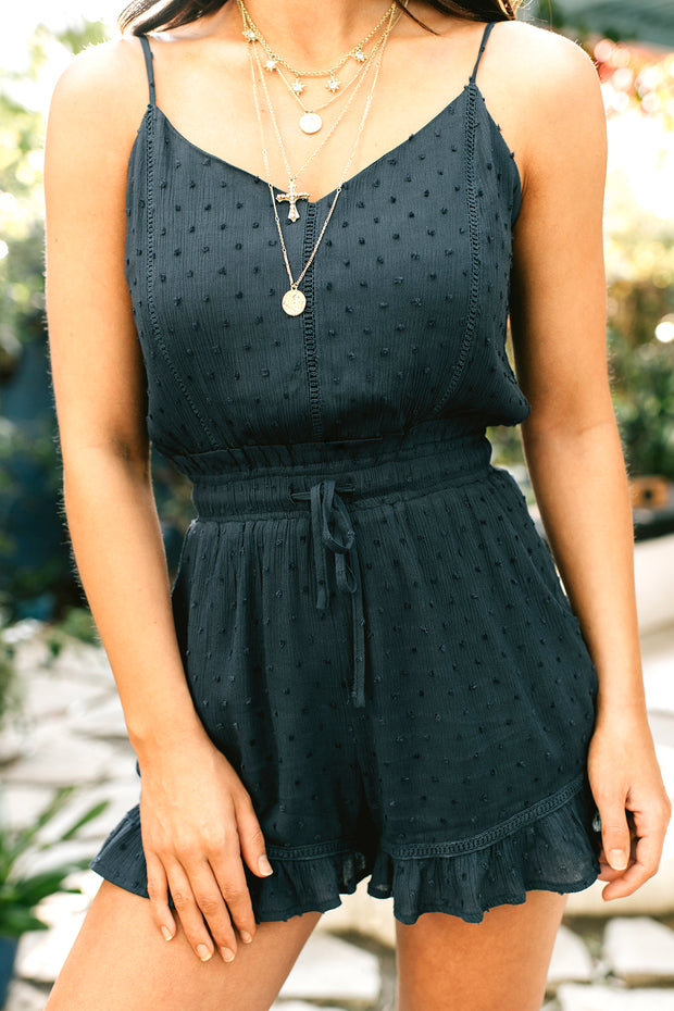 It's Only Right Swiss Dot Romper (Navy)