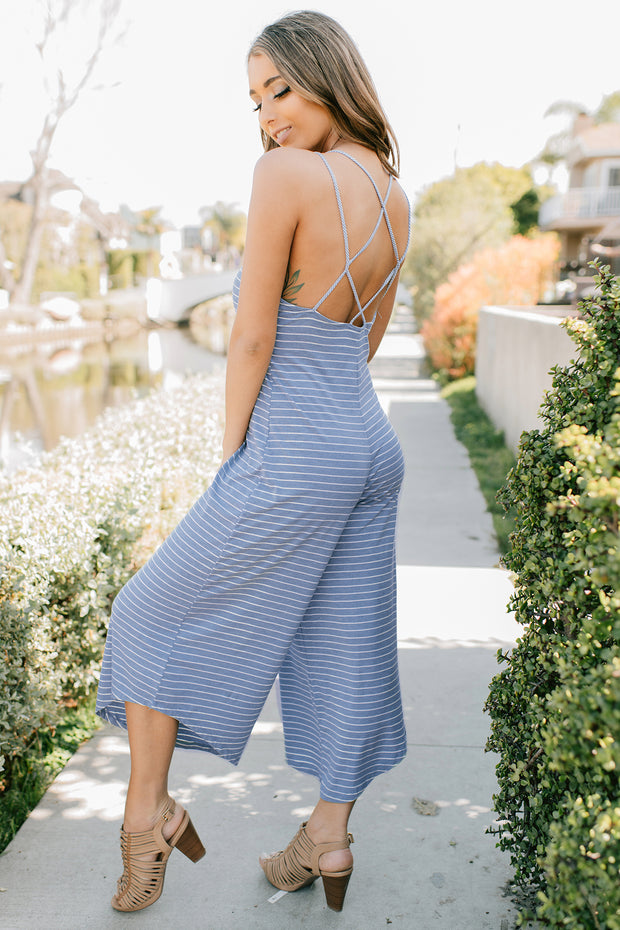 My Next Step Striped Jumpsuit (Blue) - NanaMacs