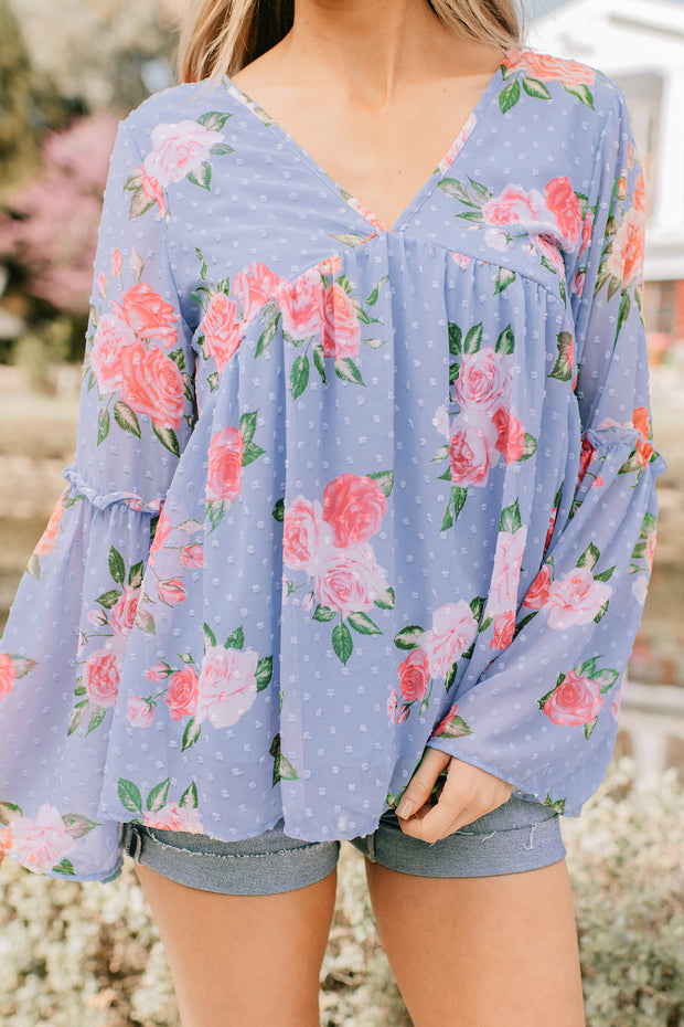 Feel Again Bell Sleeve Top (Lavender/Multi) - NanaMacs