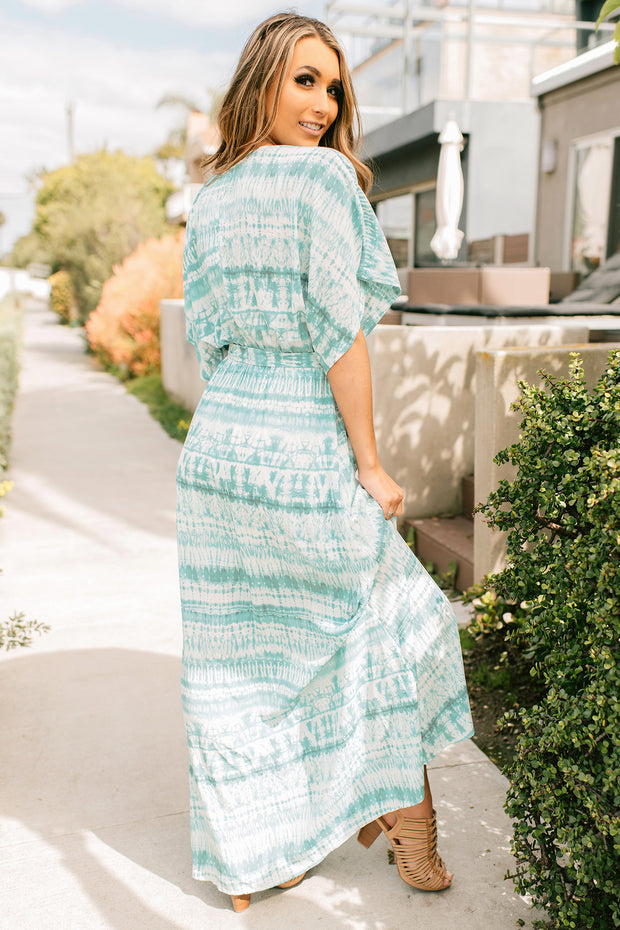 Lara Tie Dye Kimono Sleeve Maxi Dress (Sea Blue/White) - NanaMacs