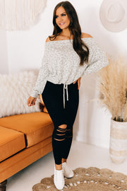 Have It Your Way Leopard Off The Shoulder Top (Sage) - NanaMacs