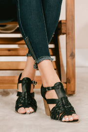 Stepping It Up Braided Cage Heel (Black) - NanaMacs