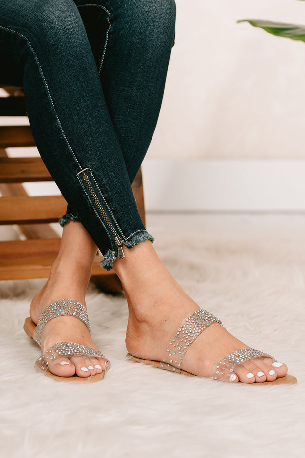 Are We Clear Rhinestone Embellished Sandals (Clear) - NanaMacs