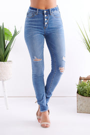 Right Fit High Rise Distressed Jeans (Medium Wash)