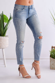 Blue Bird Distressed Jeans (Medium Wash)