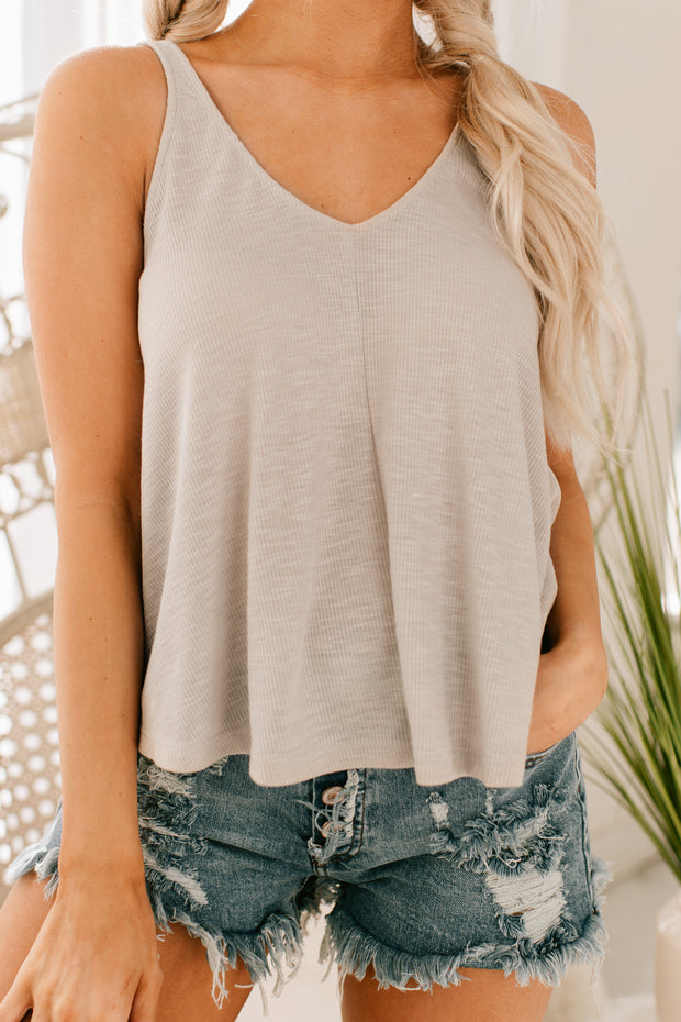 Can't You See Flowy Tank Top (Moth Grey) - NanaMacs