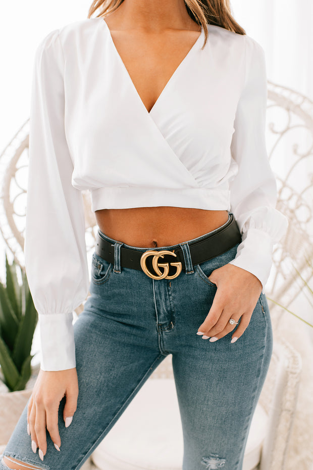 Project Confidence Satin Surplice Top (White)