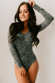 Stop You In Your Tracks Long Sleeve Bodysuit (Washed Black)