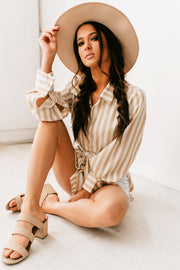 I Mean Obviously Stripe Button Up Tunic Top (Taupe)