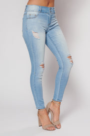 Skyscraper Distressed Skinny Jeans (Light Wash)