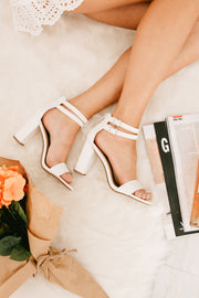 On Higher Ground Double Ankle Strap Heels (White) - NanaMacs