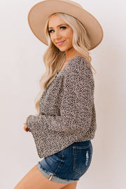 Live Your Life Spotted Bell Sleeve Top (Taupe Combo) - NanaMacs