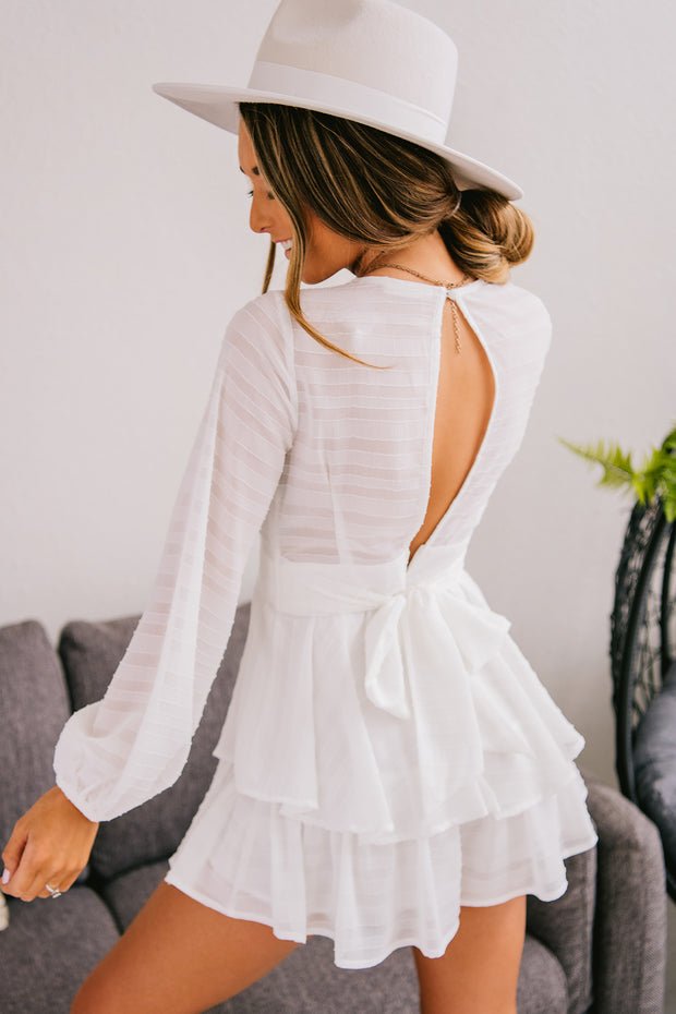 Captured My Heart Open Back Romper (Off White) - NanaMacs