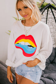 Read My Lips Graphic Sweatshirt (Off White) - NanaMacs