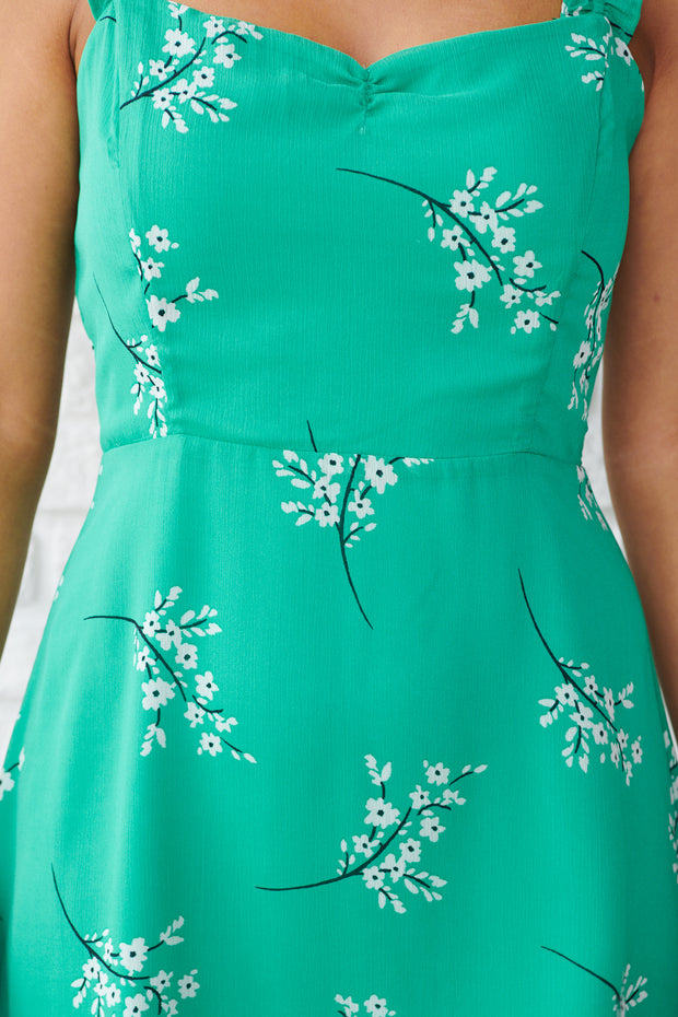 Keep It Low Key Dress (Green/Cream Floral) - NanaMacs