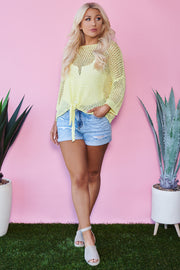 A La Tart Open Knit Tie Sweater (Lime Yellow)