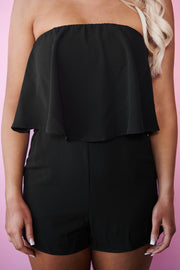 Sunshine On My Shoulders Strapless Romper (Black)