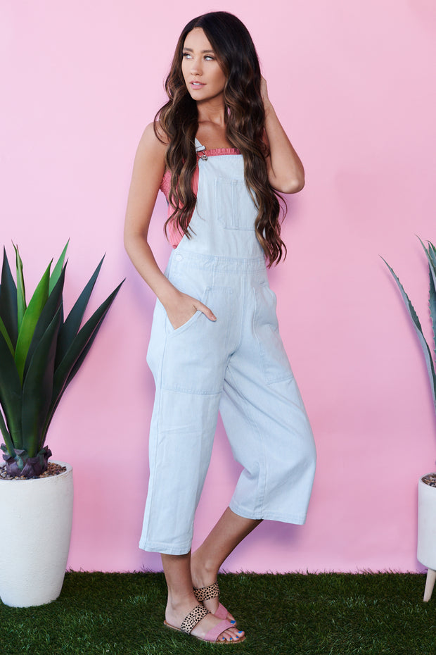Over It All Denim Overalls (Light Denim)