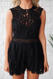 Style And Lace High Neck Romper (Black)