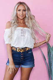 Boho Babe Off The Shoulder Crop Top (Ivory) - NanaMacs