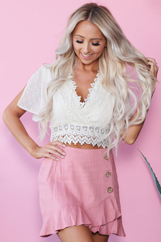 Tegan Crochet Lace Crop Top (Cream)