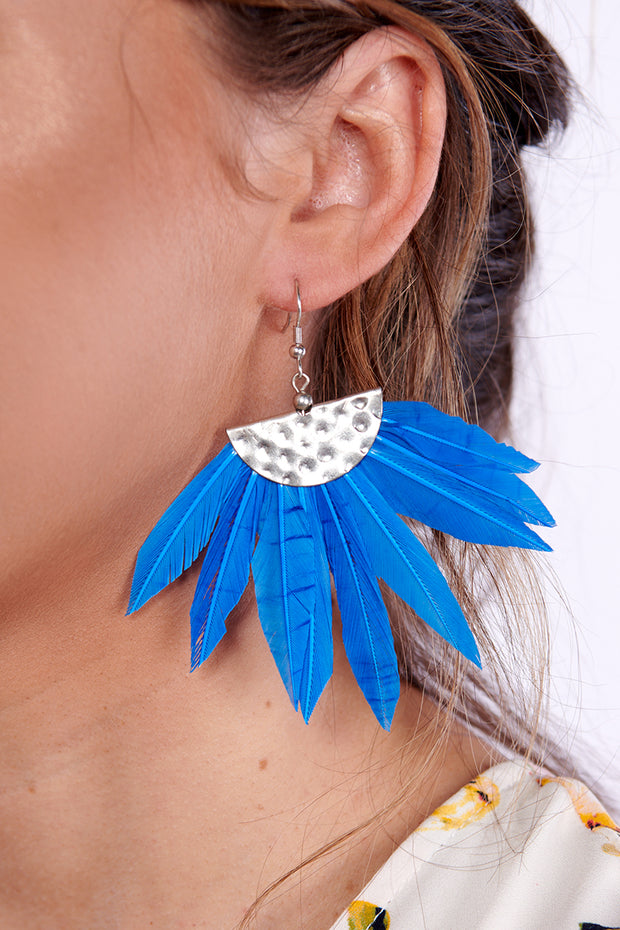 Look No Feather Dangle Earrings (Blue)