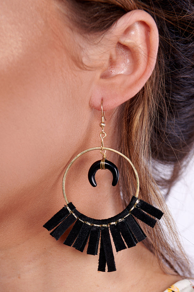 To The Moon Hoop Earrings (Black)