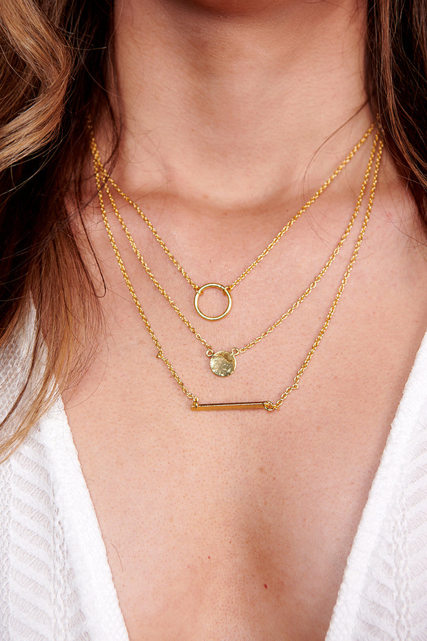 Back In The Mix Layered Necklace (Gold)
