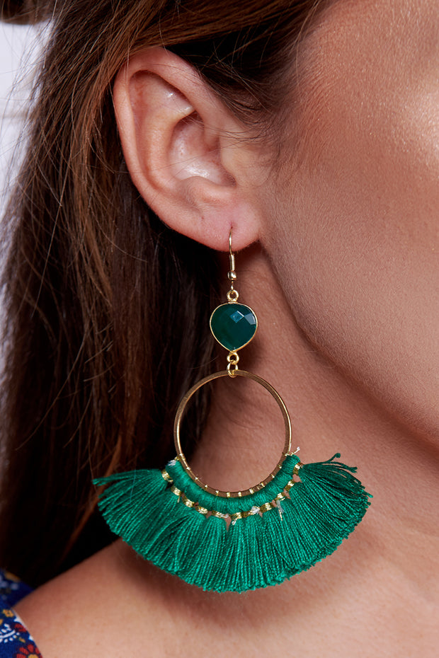 Ultimate Decision Drop Earrings (Green/Gold) - NanaMacs