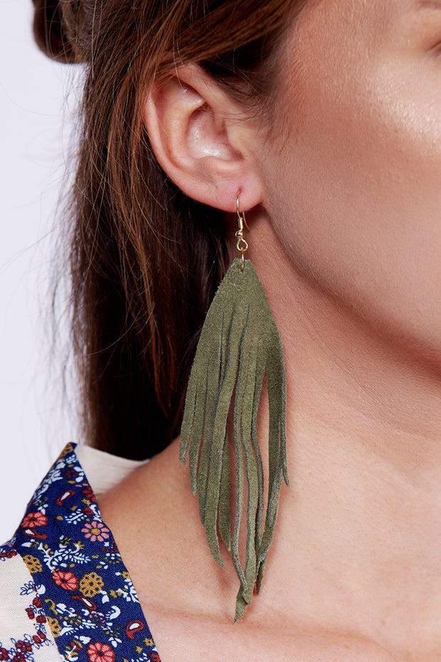 Conquering Mountains Drop Earrings (Green)