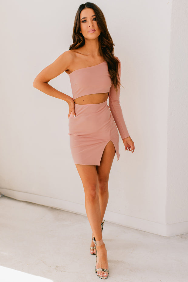 Moments Like These One Shoulder Bodycon Dress  (Blush) - NanaMacs