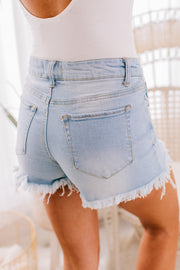 Tristan Frayed Denim Shorts (Light Denim) - NanaMacs