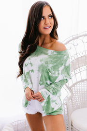 Living Cozy Tie Dye Top (Green) - NanaMacs