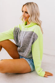 Highlight Reel Cowl Neck Pullover (Marled Charcoal/Neon Yellow) - NanaMacs