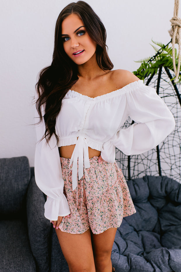 Read My Mind Off The Shoulder Crop Top (Off White) - NanaMacs