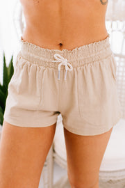 Days Go By Linen Shorts (Taupe) - NanaMacs