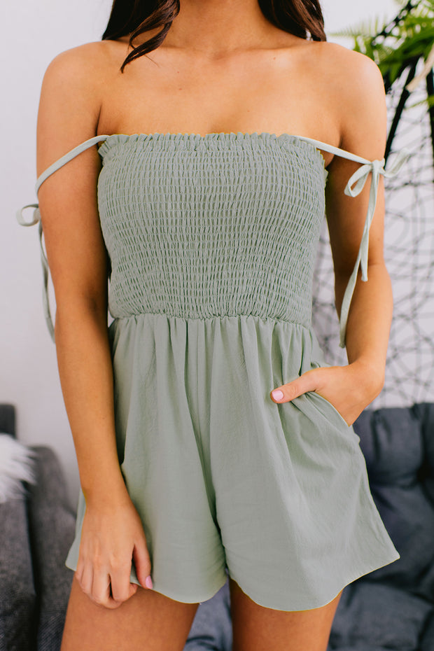 Young And Free Smocked Top Romper (Mint) - NanaMacs