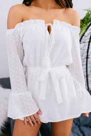 Just Can't Wait Lace Crochet Off The Shoulder Romper (Ivory) - NanaMacs