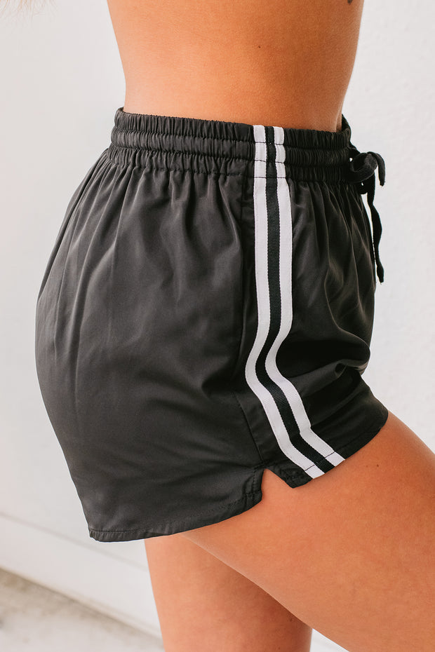 Watch Me Work Windbreaker Shorts (Black) - NanaMacs