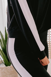 Weekend Wonder Side Stripe Two Piece Set (Black/White) - NanaMacs