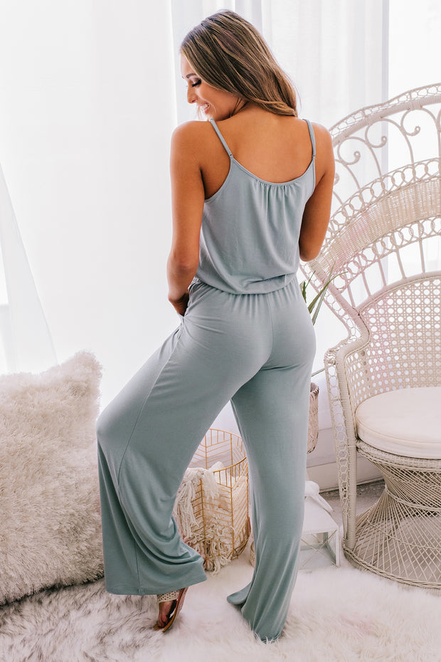 Watch Party Spaghetti Strap Jumpsuit (Light Green) - NanaMacs