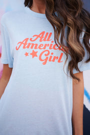 """All American Girl"" Tee (Light Blue)"