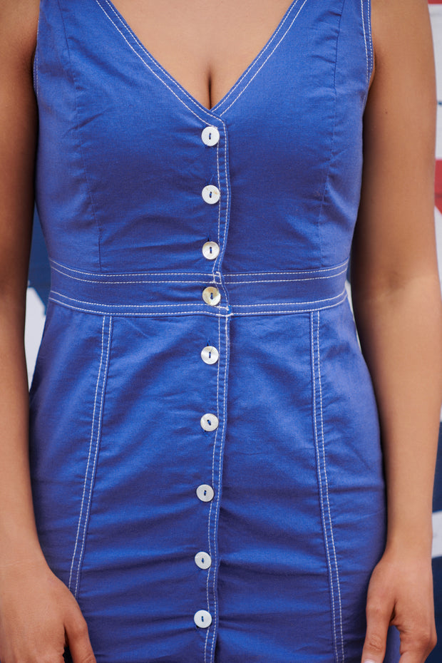 Summer Blues Button Up Dress (Royal Blue)